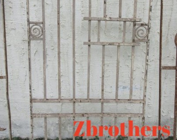 Antique Victorian Iron Gate Window Panel Fence Architectural Salvage Door #88
