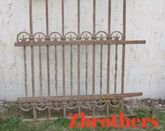 Antique Victorian Iron Gate Window Panel Fence Architectural Salvage Door #317