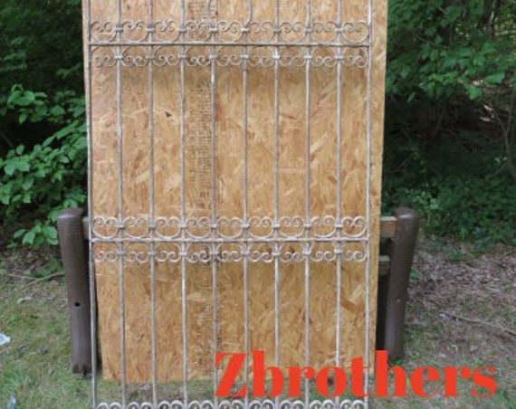 Antique Victorian Iron Gate Window Panel Fence Architectural Salvage Door T