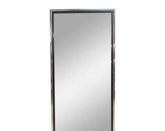 Vintage Mid Century Chrome Slender Hanging Wall Mirror B