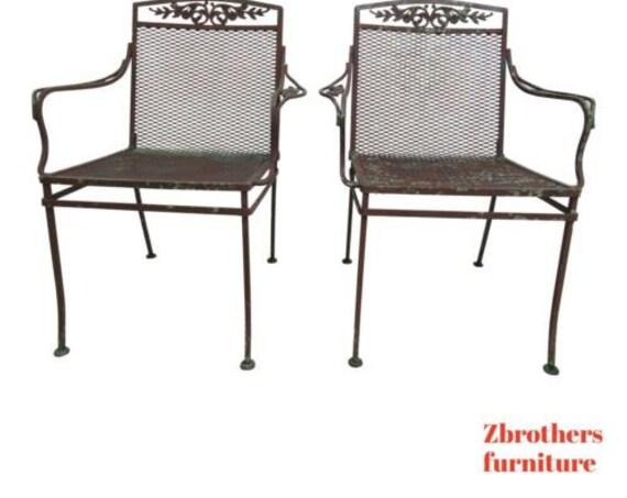 Pair Vintage Woodard Daisy Arm Chairs Outdoor Patio Porch C