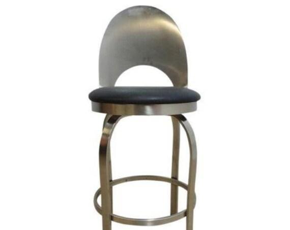 Vintage mid Century Metal Scoop Back Industrial Bar Counter Drafting Stool Chair