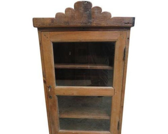 Antique Primitive architectural salvage Hutch China Cabinet Cupboard m A