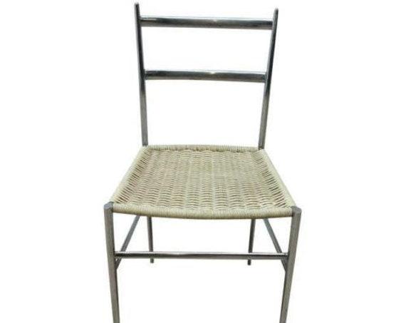 Vintage Mid Century Chrome Italian Ladder Back Dining Side Desk Chair