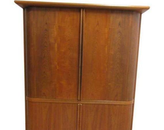 Vintage Danish Modern Teak Tambour Door Tv Stereo Entertaiment Cabinet unit