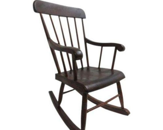 Antique Plank Bottom Childs Doll Rocker Rocking Lounge Chair