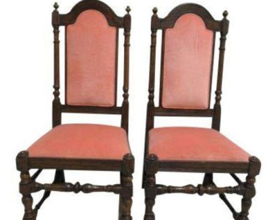 Pair Ethan Allen Charter Oak Jacobean Dining Room Side Chairs A