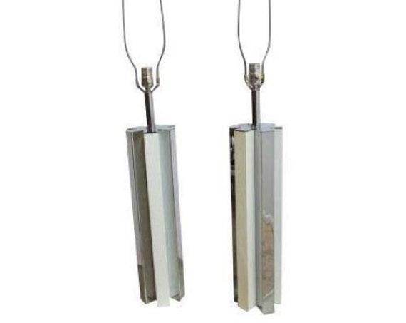 pair vintage mid century chrome star column cylinder table lamps milo baughman