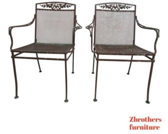Pair Vintage Woodard Daisy Arm Chairs Outdoor Patio Porch B
