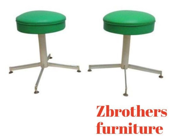 Pair Vintage Mid Century Revolving Green Button Foot Stools Ottoman Vanity A