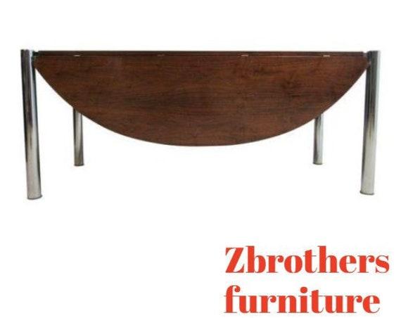 Vintage Mid Century Chrome Walnut Milo Baughman Drop Leaf Floating Table
