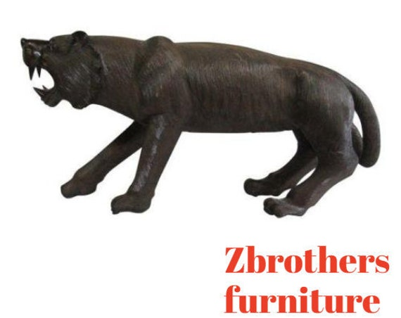Mahogany Carved Panther Statue Sculpture