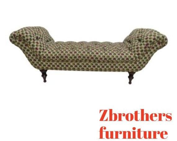 Custom Larry Laslo Directional U Bench Settee Ottoman Foot Stool Regency