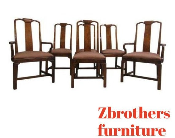 6 Vintage Drexel Asian Chinoiserie Dining Room Side Arm Chairs Set