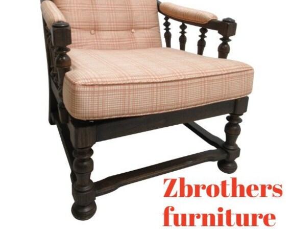 Ethan Allen Fireside Lounge Chair Living Room Charter Oak Jacobean B