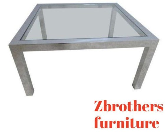 Vintage Mid Century Chrome Square Parson Coffee Table