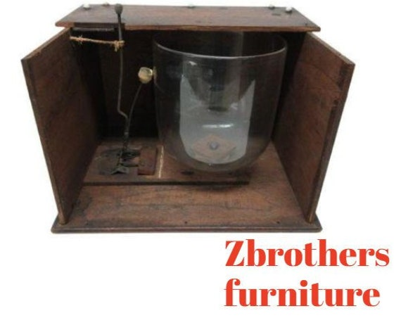 Antique Victorian Freemason Masonic Walnut Case Glass Ceremonial Bell