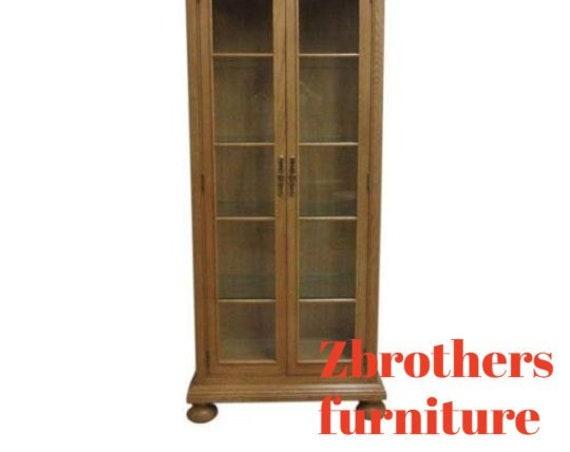 Henredon Monumental Carved Curio Crystal China Cabinet Etajere Hutch Display
