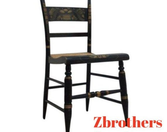 Vintage Hitchcock Style Paint Decorated Cane Seat Side Desk Chair