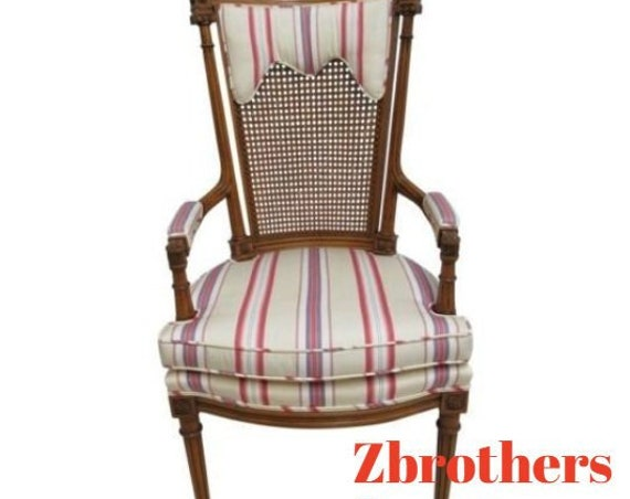 Baker Furniture French Regency Fireside Cain Back Arm Lounge Chair B