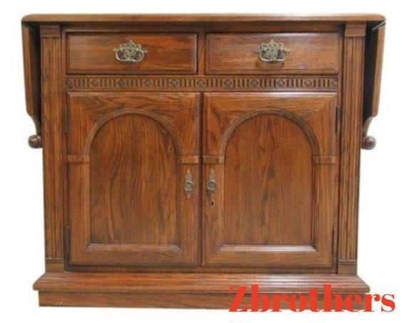 Ethan Allen Charter Oak Jacobean Flip Top Bar Liquor Cabinet Server Console