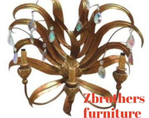 Antique Metal French Regency Gold Gilt Leaves Louis XV Chandelier Wall Sconce