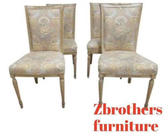 4 Custom Distressed Italian Regency Carved Dining Room Side Chairs