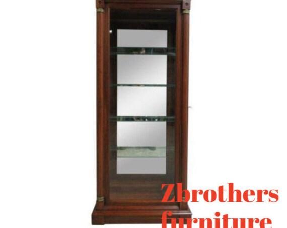 Ethan Allen Neo Classical Medallion Pediment Curio China Cabinet Hutch A