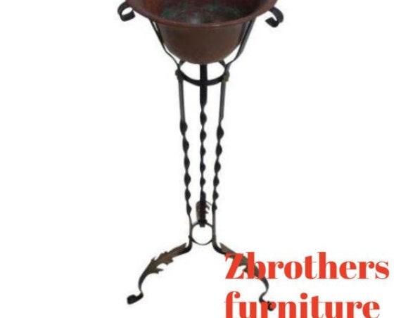 Antique Wrought Iron Regency Copper Planter Pedestal Stand