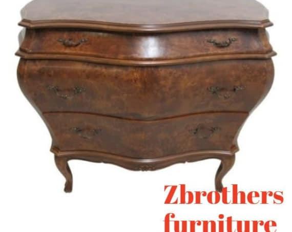 Vintage Italian Bombay Commode Burl Wood Chest Dresser Regency