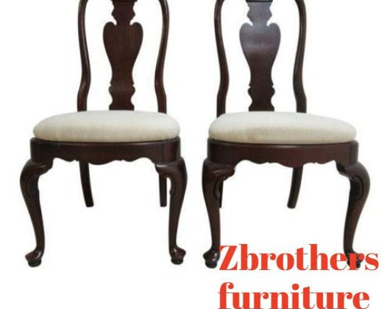 Pair Ethan Allen Georgian Court Shell Carved Dining Room Side Chairs B