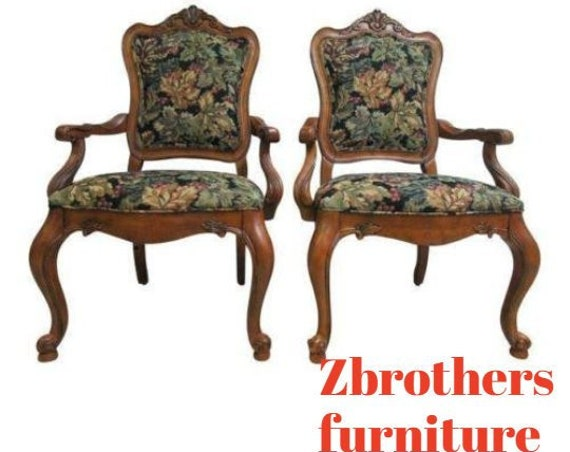 Ethan Allen Tuscany French Carved Dining Room Arm Chairs