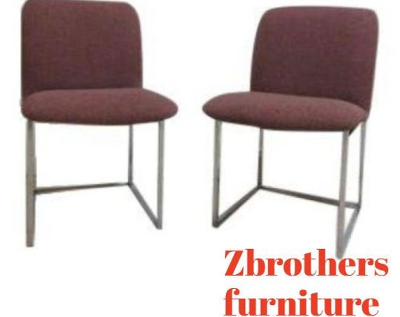Pair Mid Century Chrome Cube Floating Dining Room Desk Side Chairs
