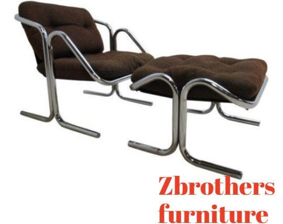 Vintage Mid Century Cantilever Chrome Sling Lounge Chair and Ottoman