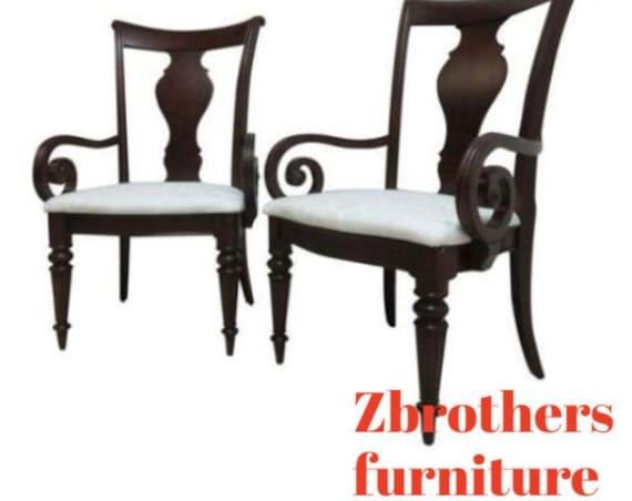 Pair of Pennsylvania House Cherry Cortland Manor Regency Dining Room Arm Chairs