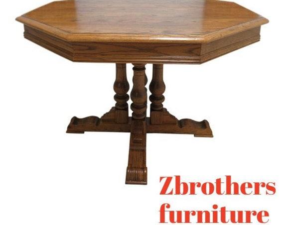 Ethan Allen Pedestal Dining Room Table Charter Oak Jacobean
