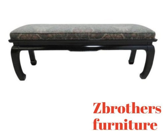 Vintage Chinese Chippendale Black Lacquer Window Bench Settee Ottoman