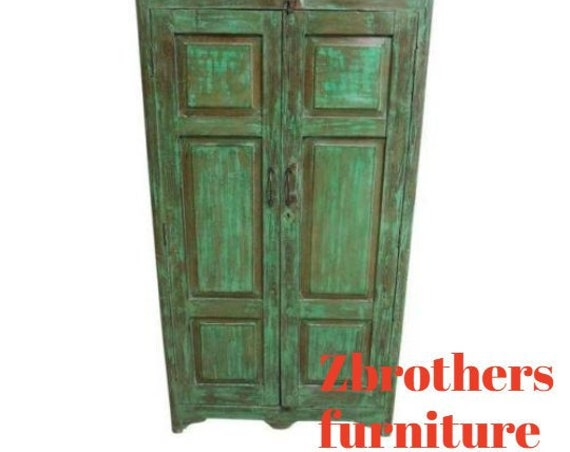 Antique Primitive architectural salvage Wardrobe China Cabinet Cupboard G