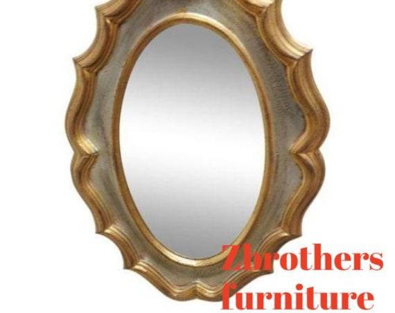 Vintage Italian Regency Carved Wood Gold Gilt Hall Dresser Wall Mirror