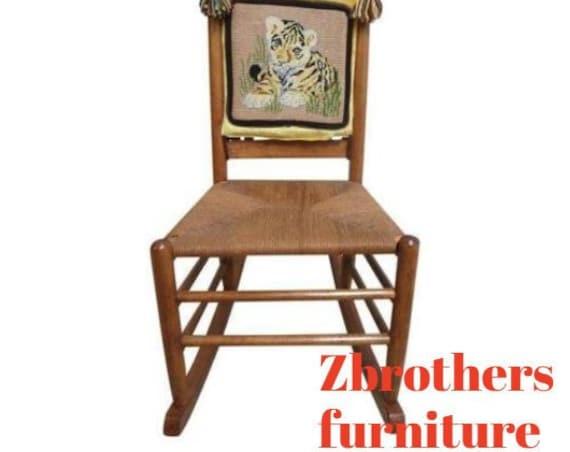 Antique Rush Seat Needle point Rocker Rocking Chair carpet Cutter