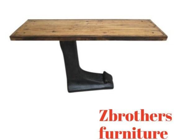 Antique Art Deco Cast Iron Industrial Cantilever Sofa Hall Table Console Bar