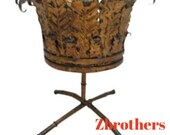 Vintage Faux Bamboo Metal Gold Gilt French Regency Planter Filigree Plant Stand