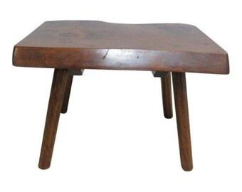 Vintage Mid Century Adirondack Free Form Slab Wood Live Edge Lamp End Table  A