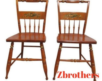 Superbe Pair Bent Brothers Plank Bottom Hitchcock Style Dining Room Desk Side Chairs