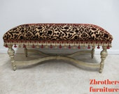 Custom Italian Regency Louis XV Carved X Base Window Bench Settee