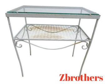 Groovy Items Similar To Vintage Wrought Iron Mesh Table White Bralicious Painted Fabric Chair Ideas Braliciousco
