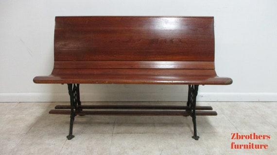 "Antique Bench Settee Victorian Cast Iron Oak Church Pew Railroad Gothic  48"" A"