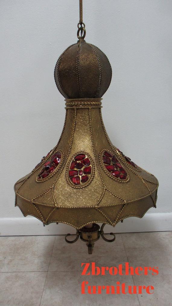 Vintage French Spanish Regency Brass jeweled Hanging Lamp Chandelier