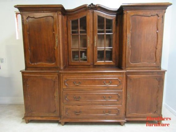 Antique French Wardobe Armoire Hutch China Cabinet Carved Tiger Oak