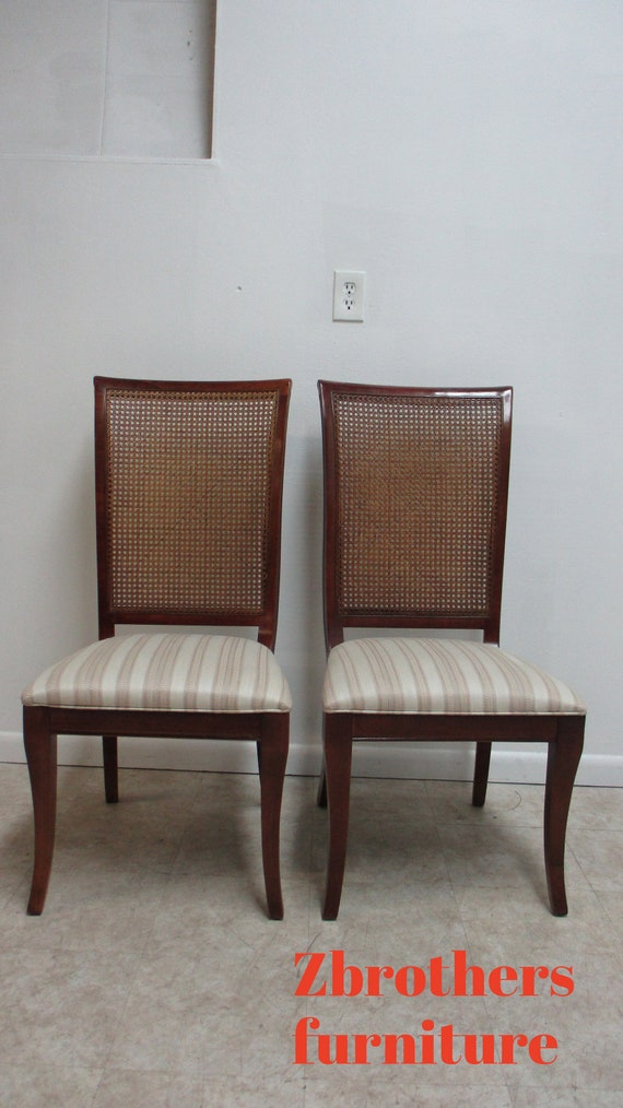 2 French Regency Cherry Cane Back Dining Room Side Chairs National Mount Airy A
